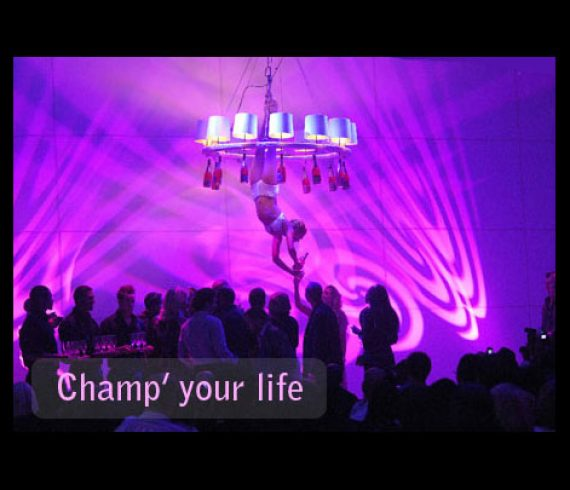 aerial champagne, champagne, chandelier, waiter, waitress