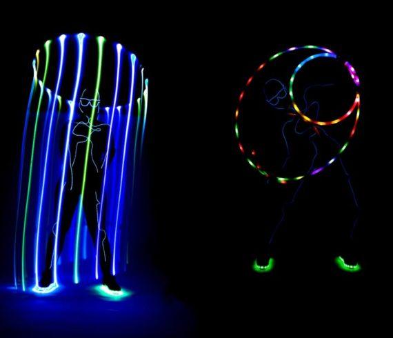 hula-hoop lumineux, lumière, lumineux, hula-hop, danseuse au hula hoop, hula hop led, artiste led