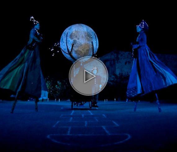 moon, lune, échassiers, stilts, light, lumière