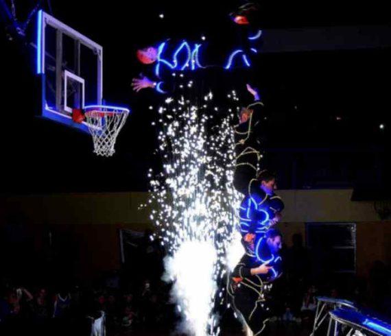 joueur de basket LED, joueurs LED, basketball, trampoline, trampoline LED