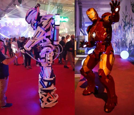 personnages cyber, animation déambulatoire, personnages robot, robots, robots déambulatoire