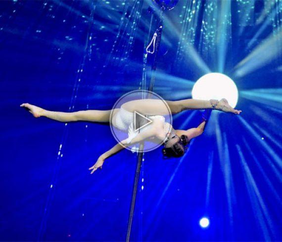 aerial pole, aerial act, aerial artist, pole act, performer, show, aérien, barre aérienne, mat, artiste