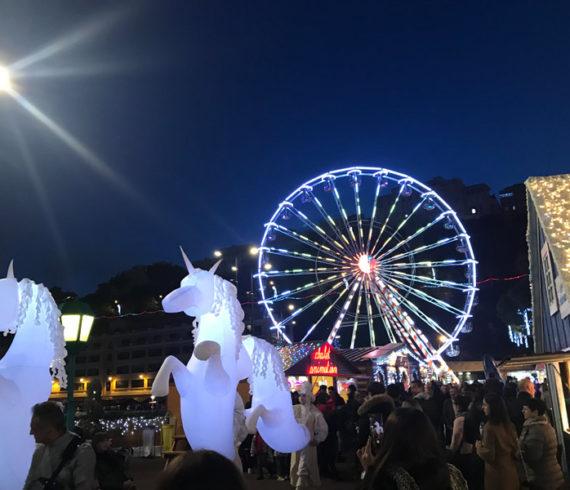 Licornes, licornes lumineuses, licornes led, marché de noel, noel Monaco, chevaux lumineux, chevaux led, chevaux gonflables, licornes gonflables, marché de noel français