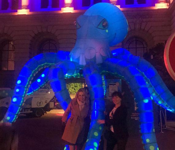 Poulpe éclairé, poulpe à led, méduses éclairées, méduses à led, événement sur le thème de la mer, événement sur le thème de l'eau, événement marin de la mer, événement océanique, spectacle marin, spectacle marin