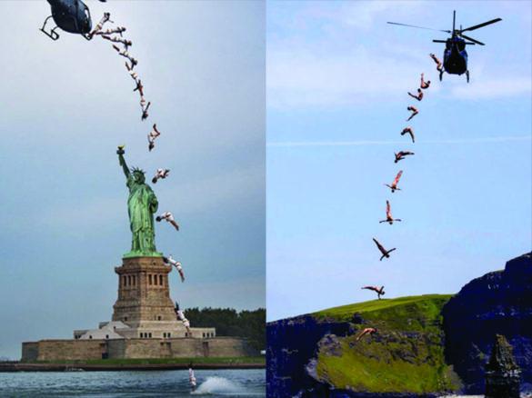 Plongeon helicopter, plongeon de la mort, saut de la mort, plongeon extreme, spectacle de plongeon, spectacle plongeurs, spectacle plongée, plongée hélicoptère